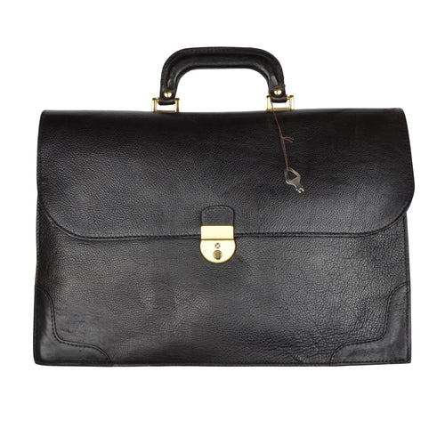 Salamander Pebblegrain Leather Briefcase - Black