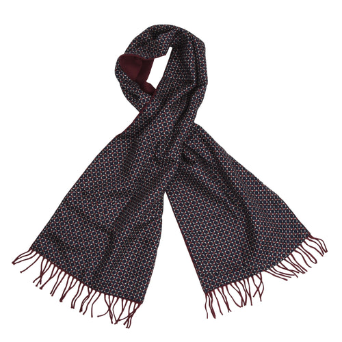 Double-Sided Silk/Wool Dress Scarf - Burgundy
