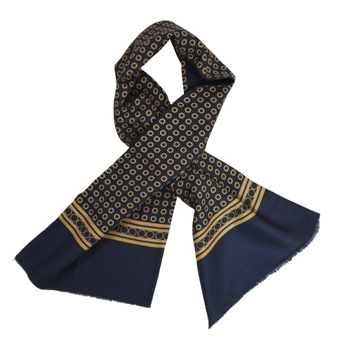 Classic Double-Sided Silk/Wool Dress Scarf - Navy