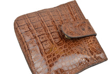 Load image into Gallery viewer, Genuine Crocodile Snap Coin Wallet - Tan/Brown
