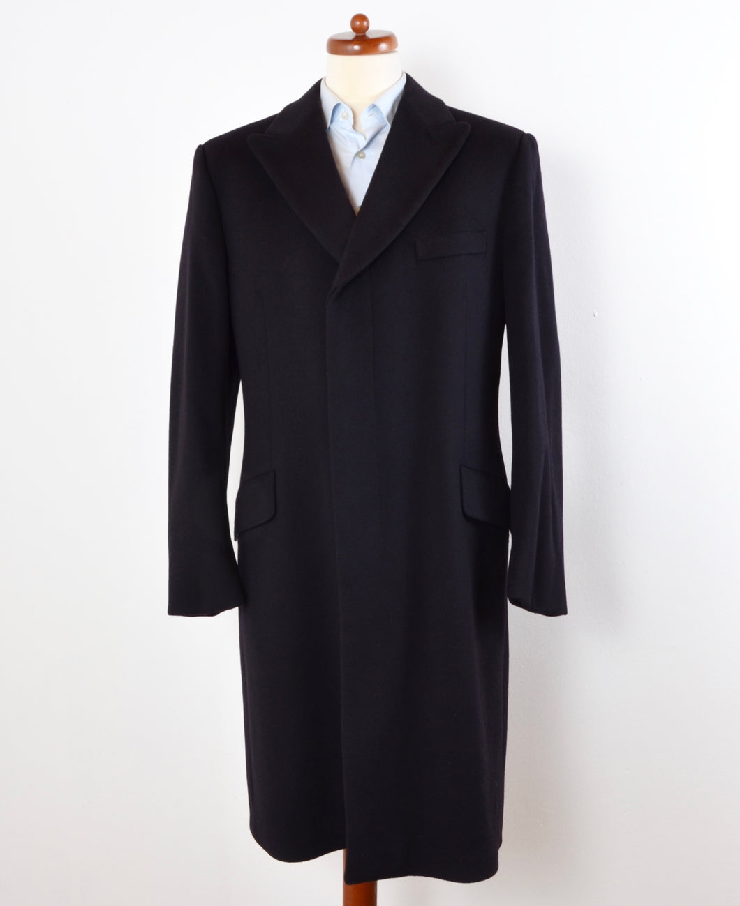 PKZ Zürich Crombie Wool Peaked Label  Overcoat Size 52 - Midnight Blue