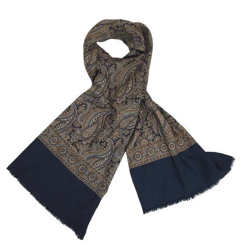 Maestro Silk Dress Scarf - Navy Paisley