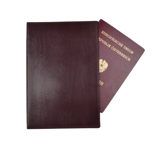 Mädler Wien Leather Passport Case/Wallet - Burgundy