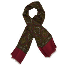Load image into Gallery viewer, Classic Wool Challis Dress Scarf - Burgundy/Green Medallion