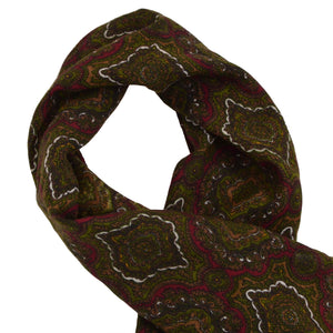 Classic Wool Challis Dress Scarf - Burgundy/Green Medallion