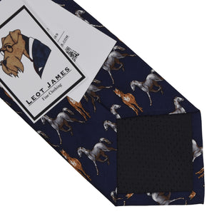 Horse Themed Printed Silk Tie - Navy