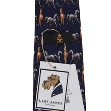 Load image into Gallery viewer, Horse Themed Printed Silk Tie - Navy