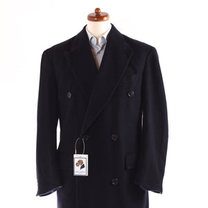 100% Cashmere Double-Breasted Peak Lapel Overcoat  - Navy Blue