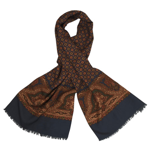 Anonymous Silk Dress Scarf - Navy Medallions