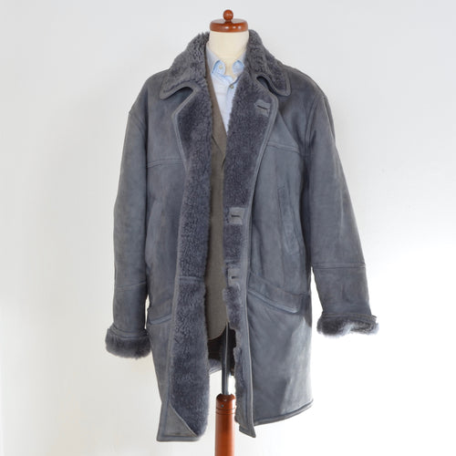 Shearling Coat Size 58 - Blue-Grey