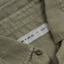 Load image into Gallery viewer, Etro Milano 100% Linen Shirt Size M - Army Green