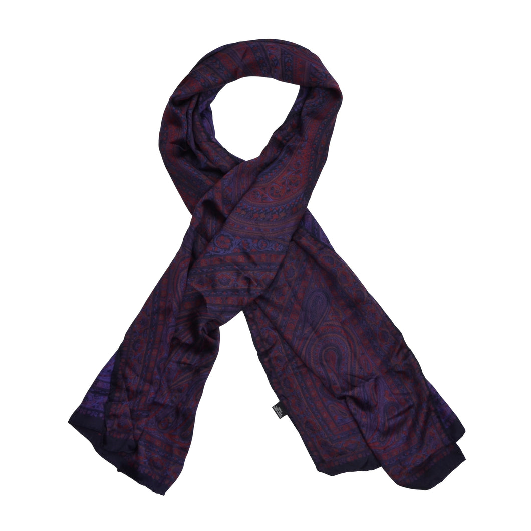 Classic Paisley Silk Dress Scarf- Purple Paisley
