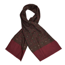 Load image into Gallery viewer, Wool/Silk Dress Scarf - Burgundy/Green