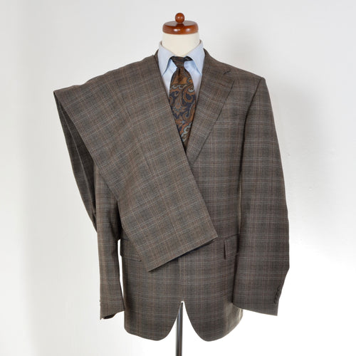 Palladio Super 100s Suit Size 54 - Brown Plaid