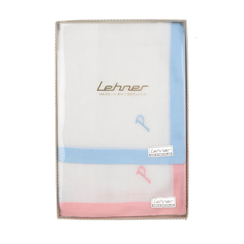 Lehner of Switzerland Monogrammed Handkerchiefs/Pocket Square - P