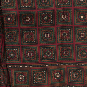 Wool/Silk Dress Scarf - Burgundy/Green