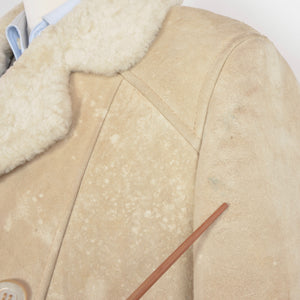 Full Length Double-Breasted Shearling Coat Size - Cream