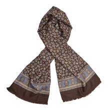 Load image into Gallery viewer, V. Fraas Silk Dress Scarf - Brown Paisley
