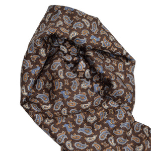 V. Fraas Silk Dress Scarf - Brown Paisley