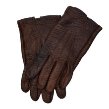 Load image into Gallery viewer, Unlined Peccary Leather Gloves Size 8 1/4 - Chocolate Brown