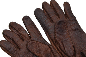 Unlined Peccary Leather Gloves Size 8 1/4 - Chocolate Brown