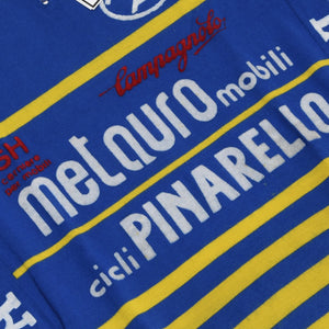 Vintage Wool Blend Pinarello Cycling Jersey - Blue & Yellow
