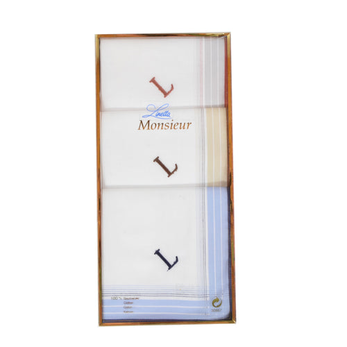 Monogrammed Cotton Handkerchiefs/Pocket Squares - L