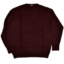 Load image into Gallery viewer, Knize Wien V-Neck Wool Sweater XL - Bordeaux