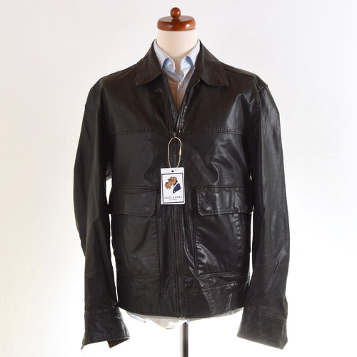 Z Zegna Leather Jacket Size 54/XL - Dark Brown