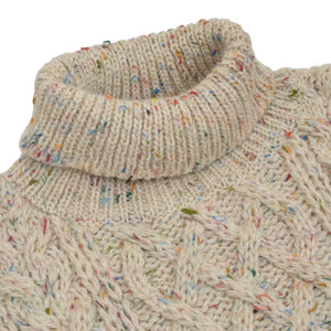 Luidiana Wool Fisherman's Turtleneck Sweater Size L  - Cream Melange