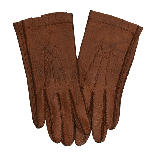 Unlined Peccary Gloves  - Rust Brown