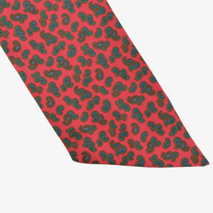Silk Ascot/Cravatte Tie - Red with Green Paisley