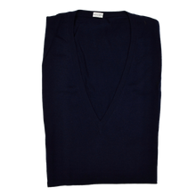 Load image into Gallery viewer, Knize Wien V-Neck Wool Sweater Vest 46 - Navy