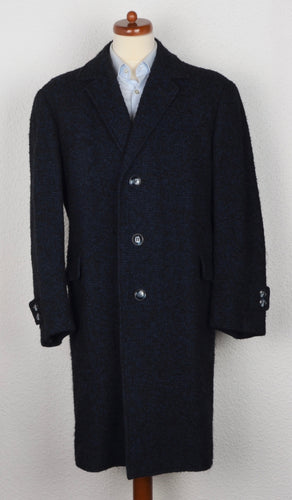 Handmade Belted Overcoat - Black & Blue