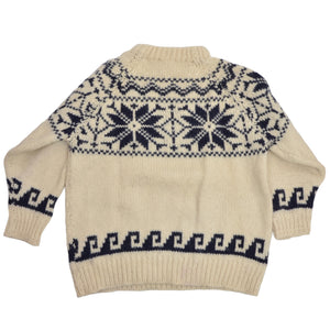 Thick Wool Snowflake Sweater Size L