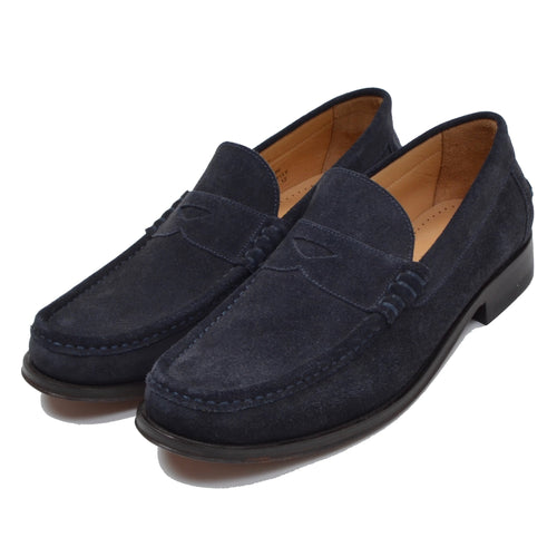 NEW Loake Suede Loafers Size 6F - Navy Blue