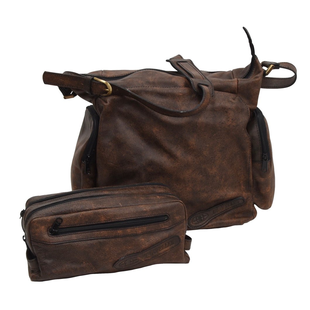 Jean Weipert Traveller Set of 2 Leather Bags - Brown
