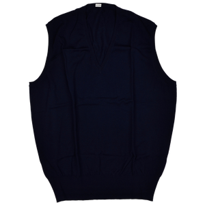 Knize Wien V-Neck Wool Sweater Vest 46 - Navy