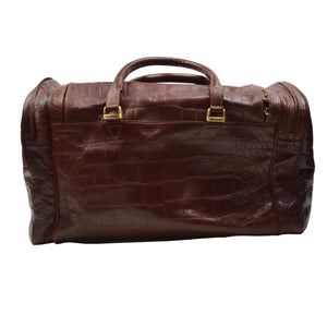 The Bridge Weekender/Duffle Bag - Brown Faux Crocodile