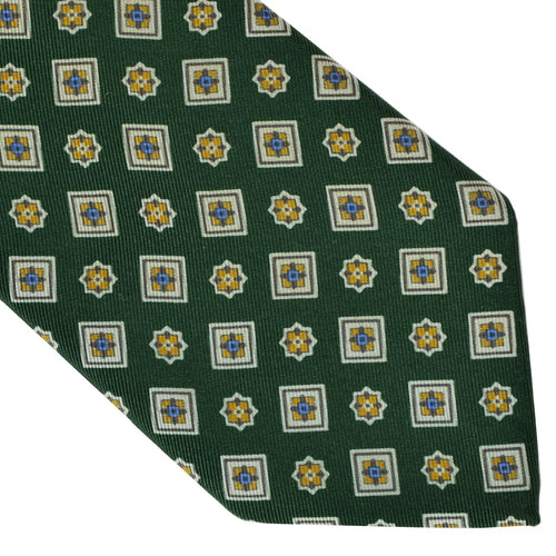 Franco Bassi Printed Silk Tie - Green