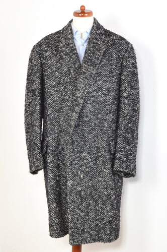 Handmade Belted Holsten Tweed Overcoat - Black & White