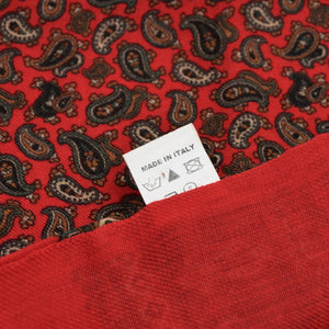 Wool Paisley Dress Scarf - Red