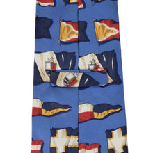 Load image into Gallery viewer, Breuer Silk Nautical Flag Motif Tie - Blue