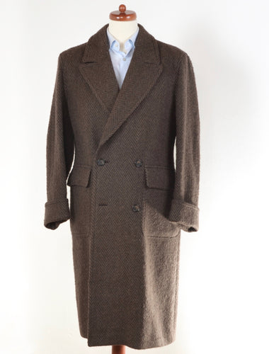 Cavelli Double-Breasted Herringbone Overcoat Size 38 R - Brown
