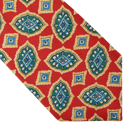 Burberrys Printed Silk Tie - Red & Green