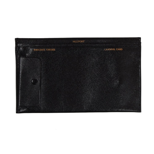 Vintage Goatskin Travel Wallet - Black