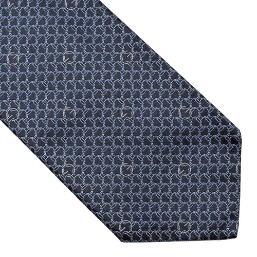 Gucci Chains Silk Tie - Grey/Blue