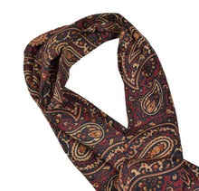 Load image into Gallery viewer, Classic Paisley Wool/Silk Dress Scarf - Red/Blue/Green/Yellow