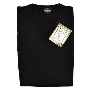 Knize Wien V-Neck Wool Sweater XL - Black