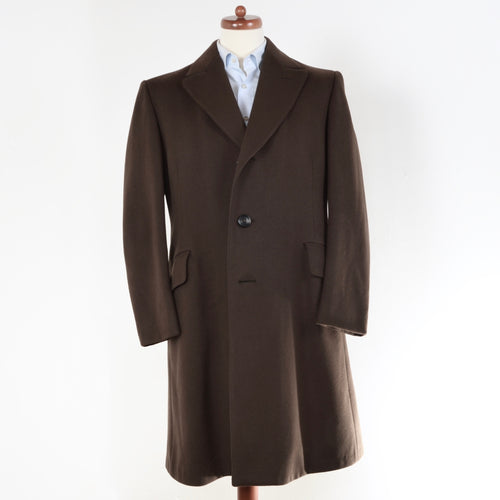 Vintage Moss Bros. Crombie Wool Overcoat Size 40R - Brown